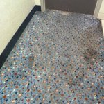 Stained hallway carpets