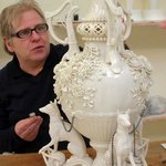 John putting the finishing touches to the International Centrepiece