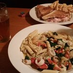 Seafood Saute and Turkey Panini