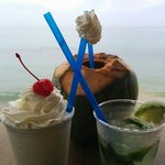 Pirate Coconut,  Mojito, and Bushwacker form the bar! Awesome!