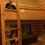 The bunk bed in the kids cabin