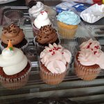 Carrot cake, strawberry, double chocolate, red velvet, wedding cake and cookies and cream