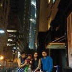 Glimpse of Petronas Towers through hotel lobby
