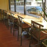 Our barstools and high tables look out to North Third Street.