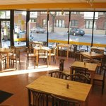 Our large windows and dining area.