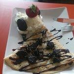 Crepe with nutella, vanilla ice cream and oreo