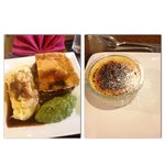 Pie, mash, mushy peas and Creme brulee!
