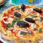 Pizza Pescatore at the Piazza