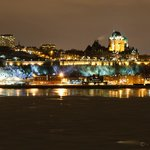 View of Quebec City at night.