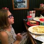 Lily enjoying her allergy friendly dinner.