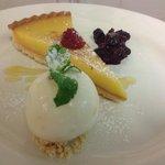 Lemon tart with citrus sorbet