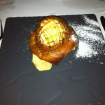 Apple tartine with icecream and caramel