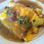 Mexican Omelet smothered in Green Chili