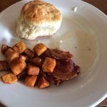the bacon and potato was ok, the biscuit was not good