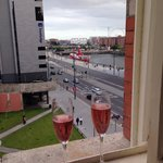 Complementary bubbly and lovely view