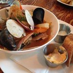 Chef's Bouillabaisse with prawns, clams, mussels, salmon, red snapper and pink scallops