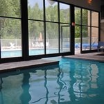 View of outdoor pool from indoor pool