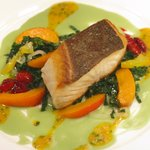 Ivory Wild King Salmon with Black Sour Cherries, Apricots and Favas