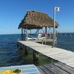 Tiki hut at end of dock.