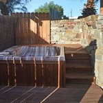 outdoor hot tub under the stars locking gate for private