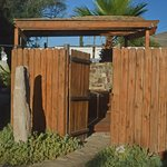 The gateway to the private outdoor hot mineral tub