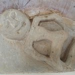 stone carving detail that was discovered during renovation, in our bedroom
