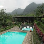 The pool, the rooms and the mountains beyond.