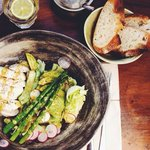 Asparagus Salad with poached chicken