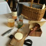 Best picnic basket / cheese course ever.  Chevre-style cow's milk cheese with parsley honey spre