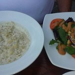 Seafood chowder and Mac Nut Salad