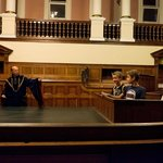 The courtroom, with Sheriff of Nottingham