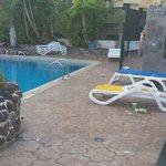 Morning pool area