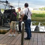 Boarding the air boat.