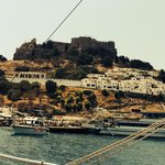 Lindos boat trip ( 'Discovery') very cheap, refurbished boat! Swim stop on way to n from & 2.5 h