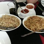 Vegetable Hakka Noodles and Chili Garlic Chicken noodles