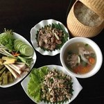 fish salad, sour fish soup with  fresh vegetable and sticky rice