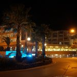 An evening view of the front of the hotel.