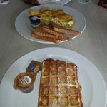 Waffle and omelette