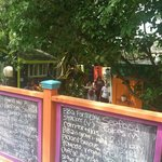 chalkboard specials and outdoor seating