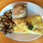 Ham and Pepper Jack cheese omelette with breakfast potatoes