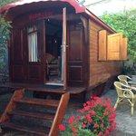 Caravan and garden.