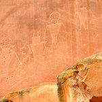Petroglyphs on a sheer wall are fascinating.