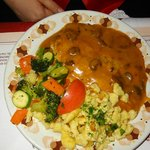 JAEGER SCHNITZEL (Hunter Style) Tender Schnitzel served in a delicious Mushroom Sauce