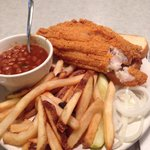 The best catfish dinner in town! Two large pieces of fish and two sides plus bread, onions, pick