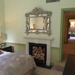Bedroom fireplace, hallway to suite