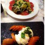 Beef carpaccio and bifilar caprese