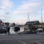 view from the outside tables of Mevagissy habour
