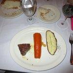 Filet, Huge carrot, and baked potato