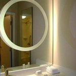 The mirror on mirror for make up & hair time & brushing teeth in sink area