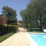 Coin piscine + allée vers le jardin et la sortie